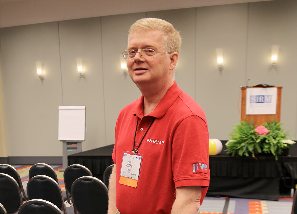 Picture of SHRM host Paul McGee rocking the Jive logo